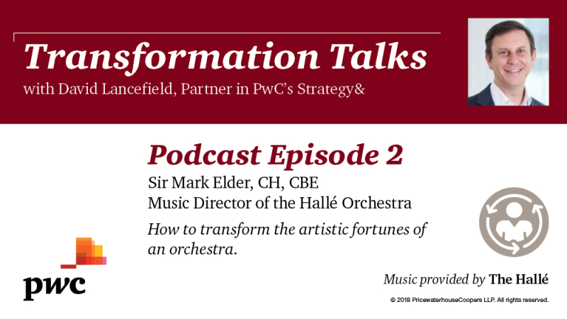Transformation Talks podcast series  Episode 2 featuring Mark Elder Music Director of the Hallé Orchestra
